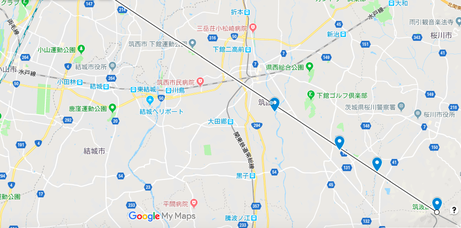 『筑西市内から望む「ダイヤモンド筑波初日の出」のライン』の画像